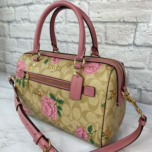 Coach Rose Print Rowan Satchel